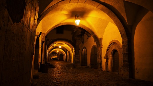 A medieval archway in the old town Rothenburg ob der Tauber in Germany.