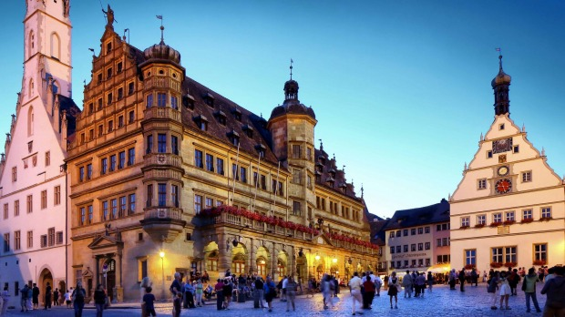 Rothenburg's town hall and main square at night.