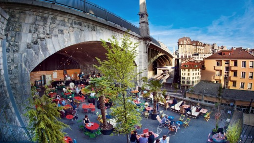 Relaxing under the railway arches in Lausanne.
