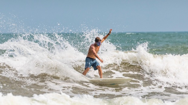Surfing at Sun and Moon Bay.