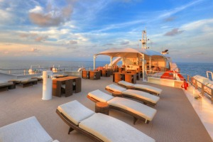 The top deck of Coral Discoverer.
