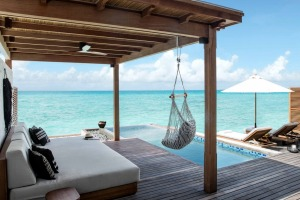 A Water Villa at Fairmont Maldives.