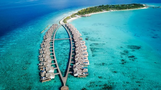 The over-water bungalows at Fairmont Maldives.