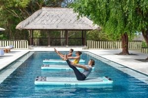 Aqua yoga at REVIVO Wellness Resort.