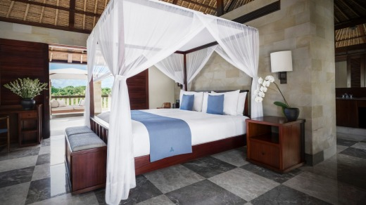 Four-poster beds, pitched ceilings and day beds are a feature of all suites.