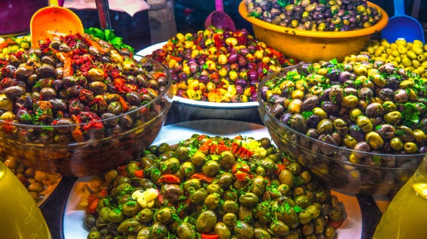 Preserved olives on a stand in the medina.