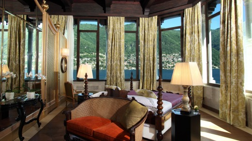 A suite room offers a stunning view at Casta Diva.