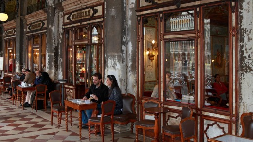 Coffee drinkers at the historic Caffe Florian in Venice.