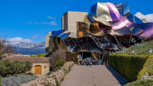 The Frank Gehry-designedMarques de Riscal winery hotel.