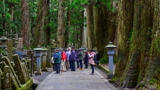 People visit the Okunoin Cemetery on Mount Koya (Koyasan) in Wakayama, Japan.