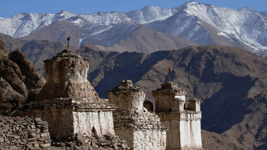 Stupas in the mountains.