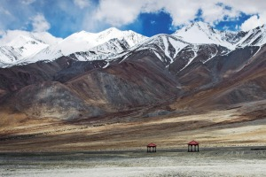 Snow-covered peaks in Ladakh.