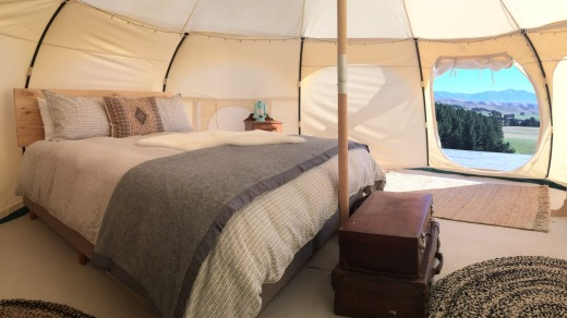 The glamping tents come with every conceivable luxury.