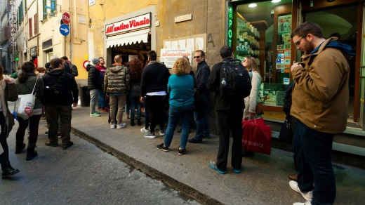 The ban applies to streets and piazzas around a particularly popular delicatessen in the city centre - All' Antico ...