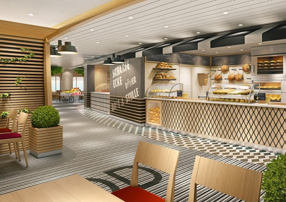 The Street Food plaza, one of 17 dining options on board.
