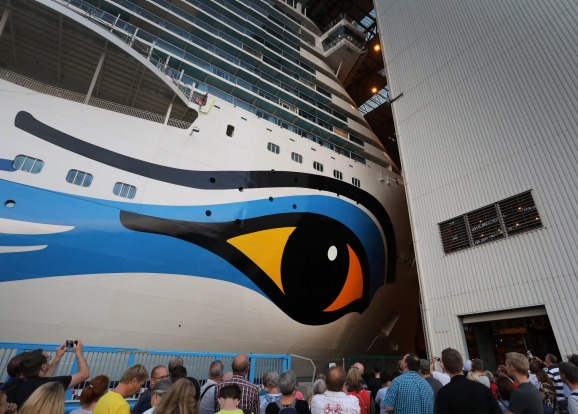 Get the feeling someone is watching you? Spectators watch as AIDAnova leaves dry dock.