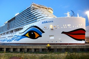 AIDAnova leaves dry dock at the Meqer-Werft shipyards in Papenburg, northern Germany.