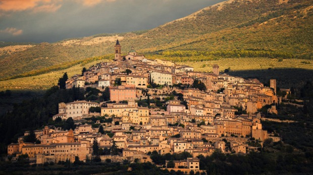 The hilltop town of Trevi, Umbria, Italy.