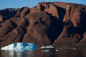 11.5-tonne Fram had been hidden behind this berg in Fonfjord, Greenland.