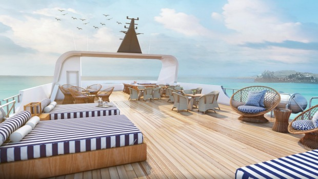 The sun deck on board Ecoventura's MV Theory.