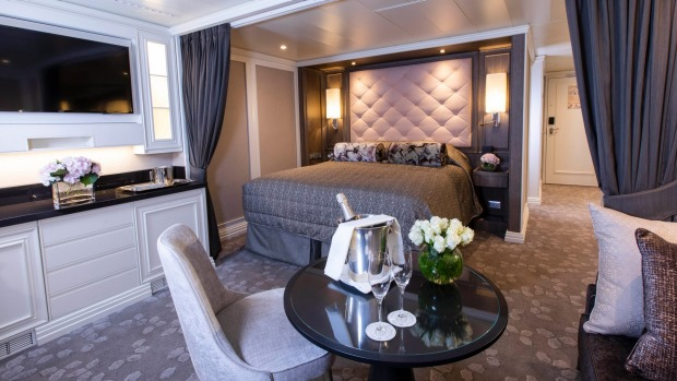 Ocean-facing beds are a feature of the Concierge Suites on board Seven Seas Splendor.