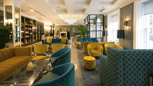 The lobby at the Iveagh Garden Hotel, Dublin, makes a good first impression.