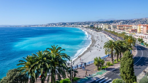 Front view of the Mediterranean sea, bay of Angels, Nice.
