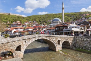 PRIZREN, KOSOVO - APRIL 7, 2017: Old stone bridge and mosque in Prizren, Kosovo.  SatSep15cover - ALBANIA / KOSOVO / ...