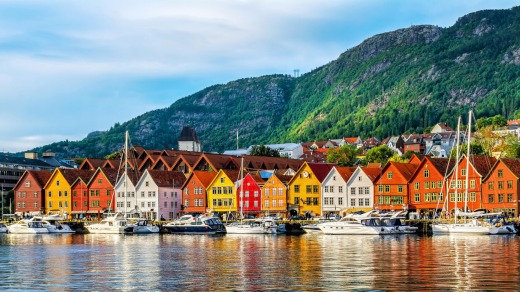 Bergen is the Norway's former medieval capital, whose wharf is lined with cheerful gabled houses.