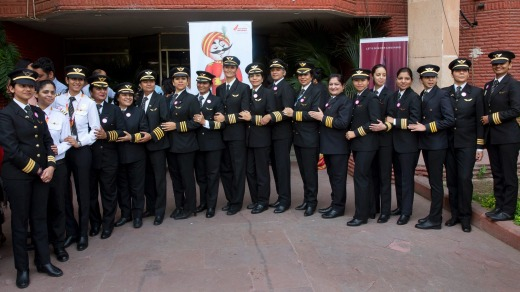 Some of Air India's women pilots pose for a photograph on the eve of International Women's Day last year.