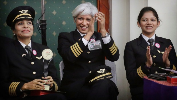 Air India had an all-women crew fly its record-breaking round-the-world route, Delhi-San Francisco-Delhi on ...