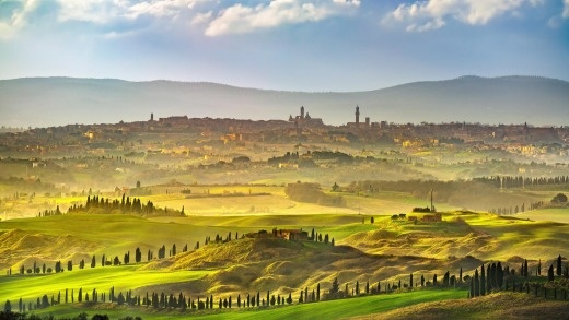 The rolling hills surrounding Siena.