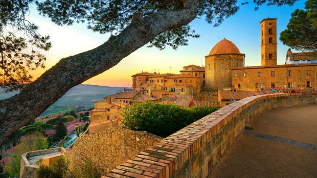 Volterra at sunset.