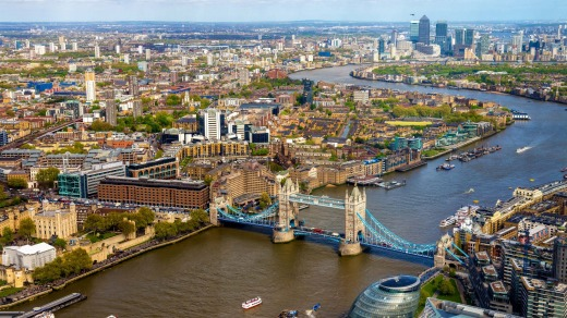 View of Tower Bridge from the Shard.