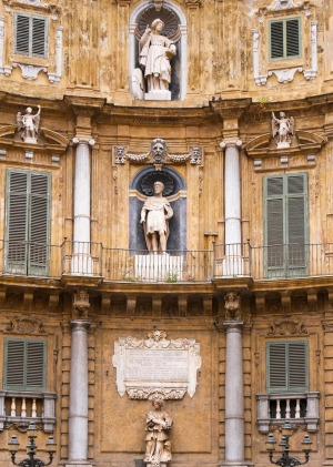 Statue of The Quattro Canti, or piazza Villena, is the name of an octagonal square in the historic center of Palermo ...