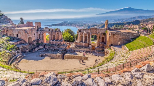 Ruins of the Ancient Greek Theater in Taormina.