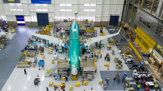 A 737 MAX under construction at Boeing's Renton factory.