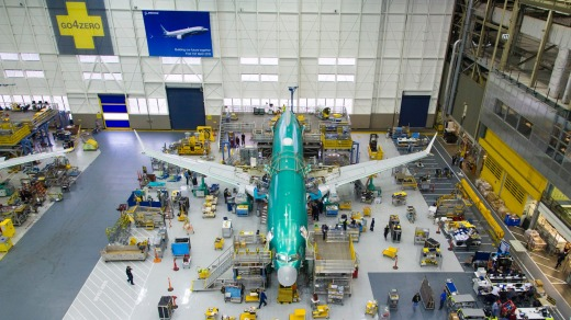 The Boeing 737 Max under construction.