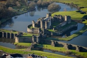 Caerphilly Castle, a partially ruined fortification dating from the 13th century.