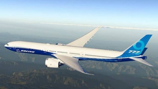 The Boeing 777X-9 will have a folding wing-tip (artist's impression).