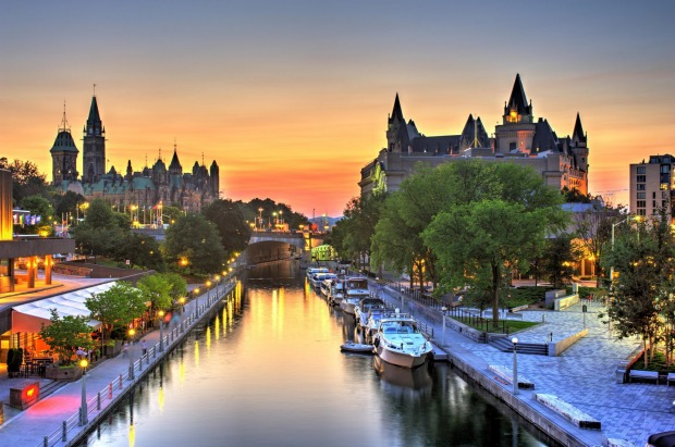 The Rideau Canal, Canada: Until the arrival of the railways, canals were vital for transporting goods and minerals from ...