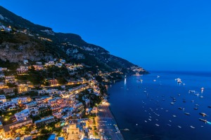 An evening view over Positano from the Villa Franca.