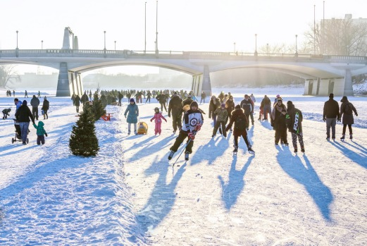 RIVER ICE SKATING, WINNIPEG: Each winter—between January and March—the confluence of the frozen Red and Assiniboine ...