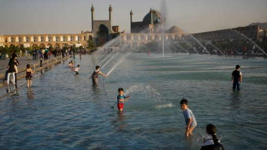 Kids playing in fountains in Naqsh-e Jahan Square.
