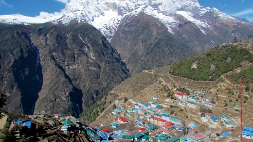It's a long and dusty climb into the village of Namche.