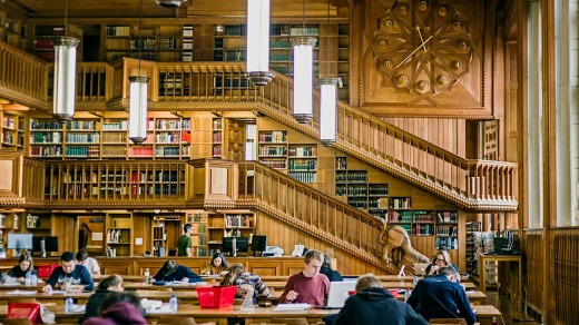 Students studying inside the library of the university of Leuven, Belgium.