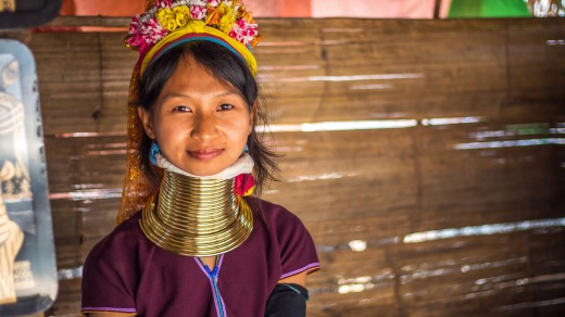 The Kayan women of Myanmar, who encircle their necks with coils of brass until they become elongated, are a highlight ...