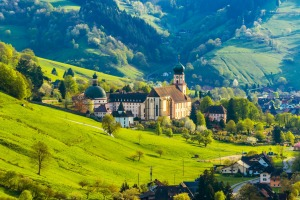 A village and monastery in The Black Forest, Germany.