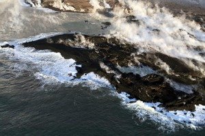 New land formed by lava from Kilauea Volcano where the bay and village of Kapoho once stood on the island of Hawaii.