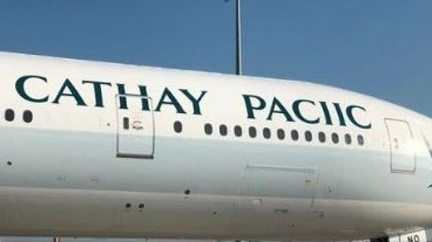 Cathay Pacific misspelled its name as Cathay Paciic on a plane.